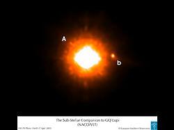 GQ Lupi A(左)と惑星候補天体 GQ ...